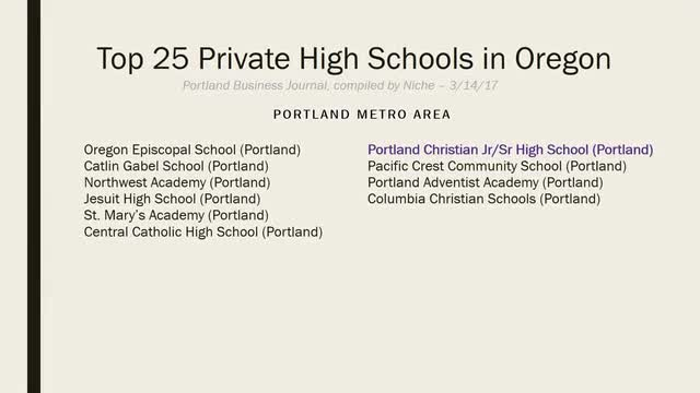 Silent video of information printed from Portland Business Journal in 2016 about top Oregon private schools