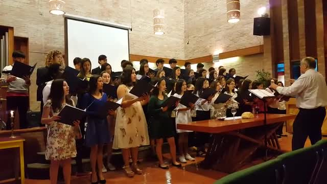 Choir singing during Easter service in chapel