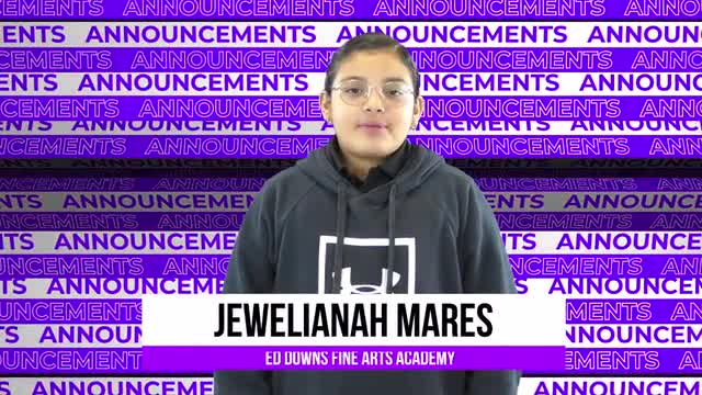 Friday Morning Announcements- 1/24/2020
