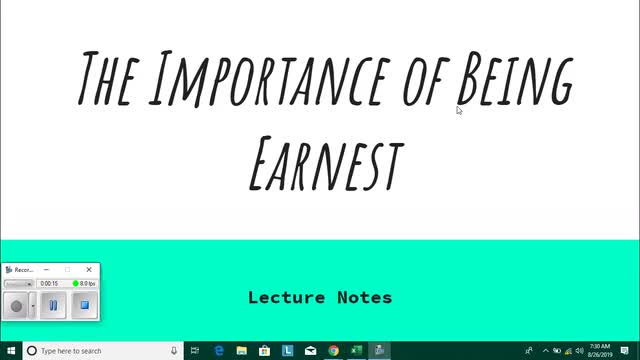 Earnest Lecture