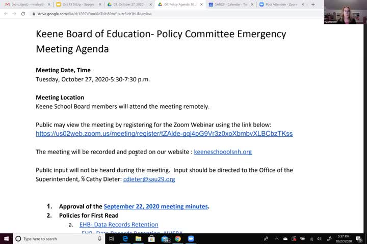 Keene School Board Policy Committee Emergency Meeting for Tuesday, October 27, 2020