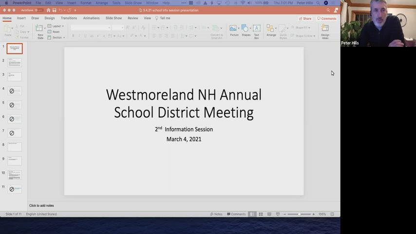 Westmoreland School Board Warrant Information Meeting Part II for Thursday, March 4, 2021