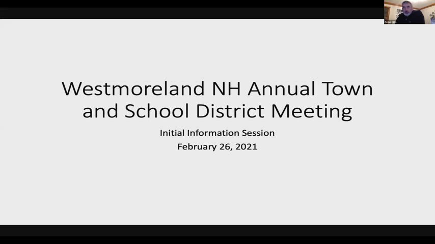 Westmoreland School Board Warrant Information Meeting Part I for Friday, February 26, 2021