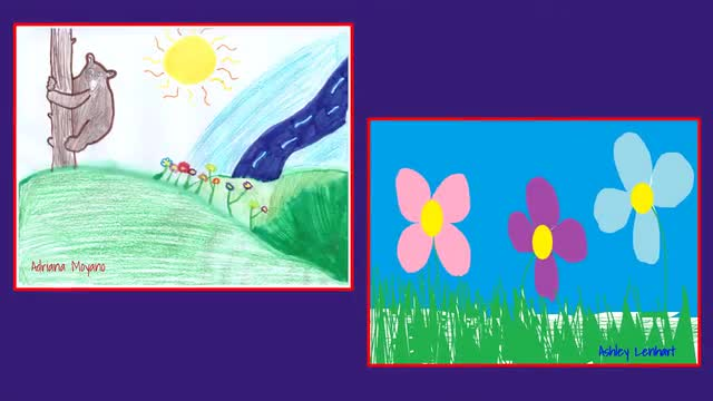 elementary students spring artwork