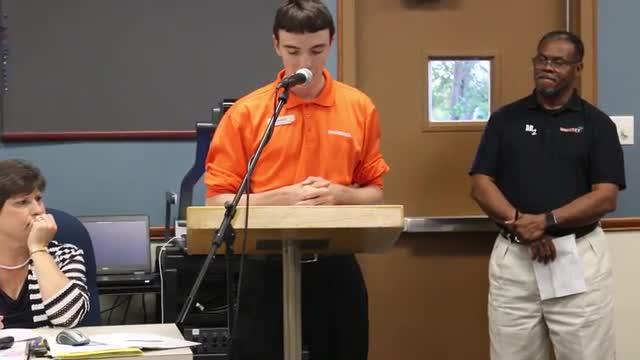 Charles Collins speaks to School Board