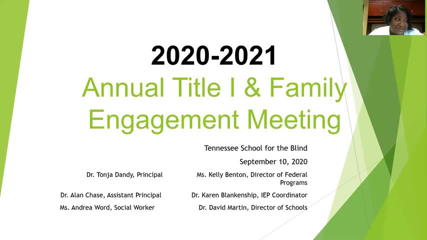 Video of the 2020 Title 1 Virtual Parent Meeting