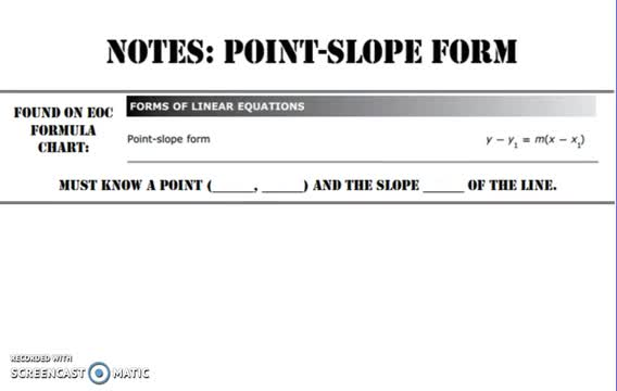 Point Slope Form Notes Tomball High School