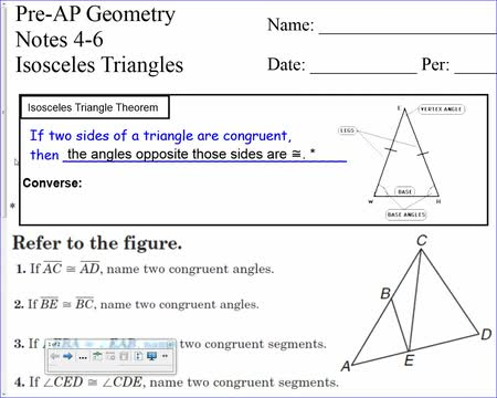 11-3 isosceles and equilateral triangles