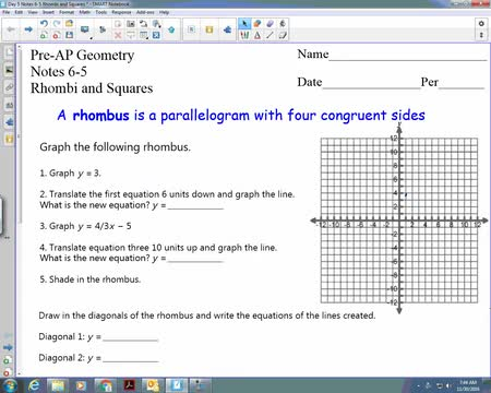12-2 part 1 properties of rhombi and squares