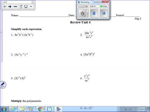 Review Polynomials and Exponent Review