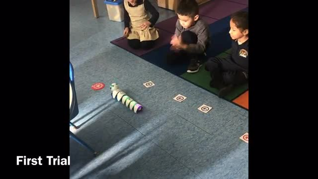 Students learned and code with Code-a-pillar.