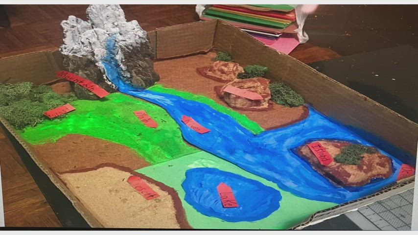 Students showing their geography dioramas