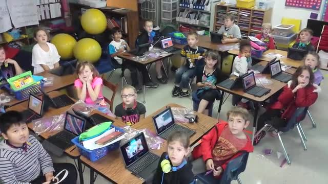 Students in Mrs. Hackett's class at Buckhannon Academy send a thank you message after receiving Unobook tablet PCs.
