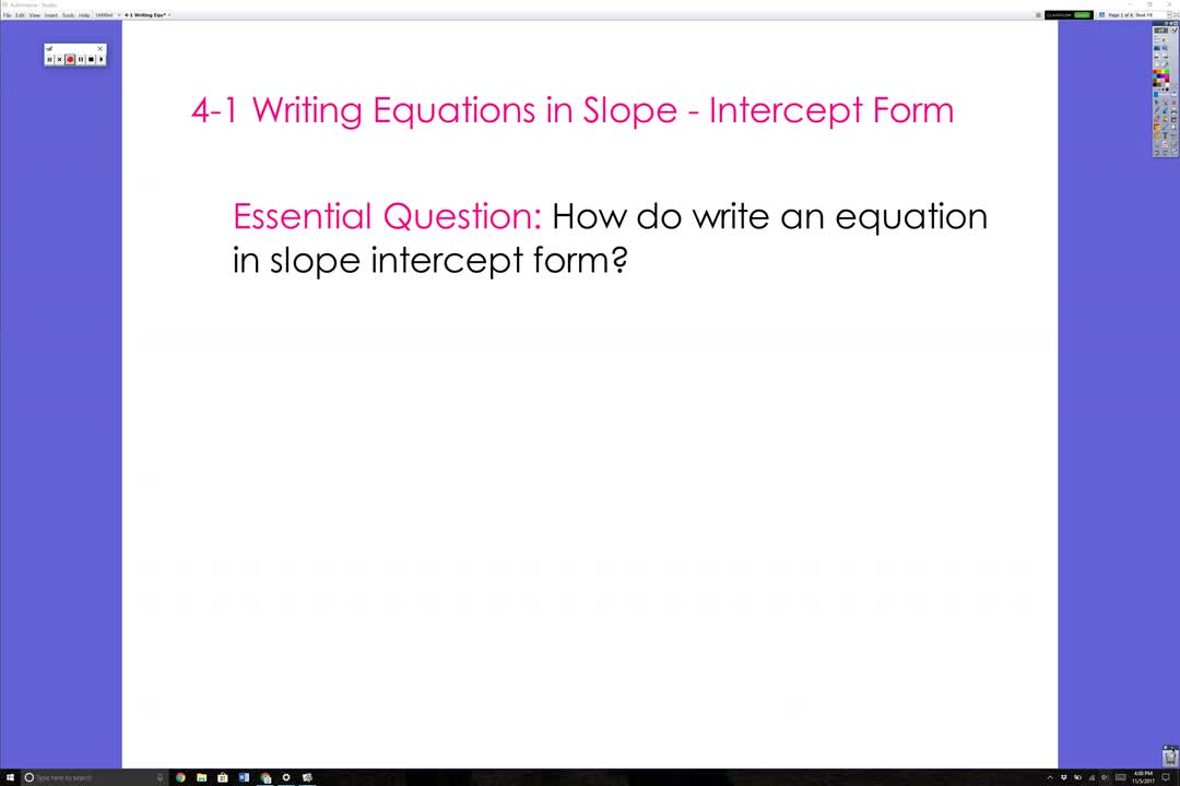 Writing Equations In Slope Intercept Form Video Valencia High School