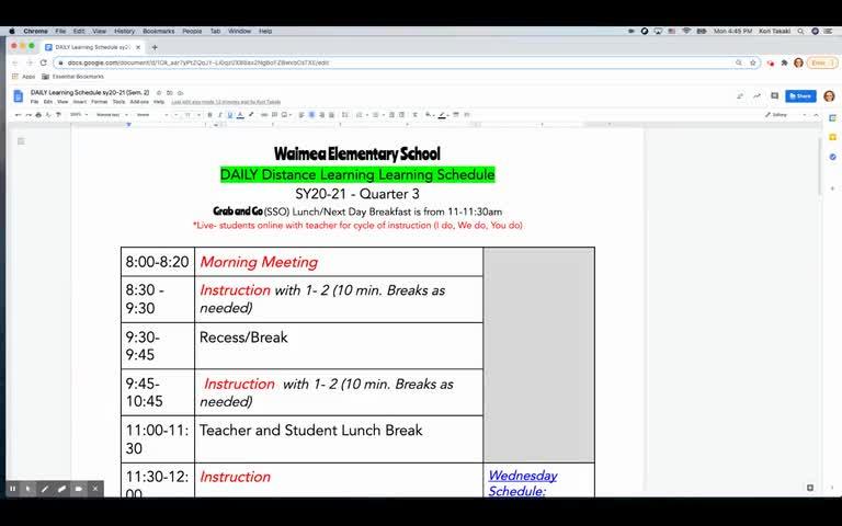 Waimea Elementary School daily learning schedule