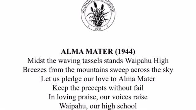 Waipahu High School's Alma Mater, Lyrics with Accompanying Music