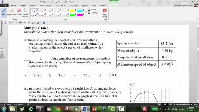 APY1 Work and energy review