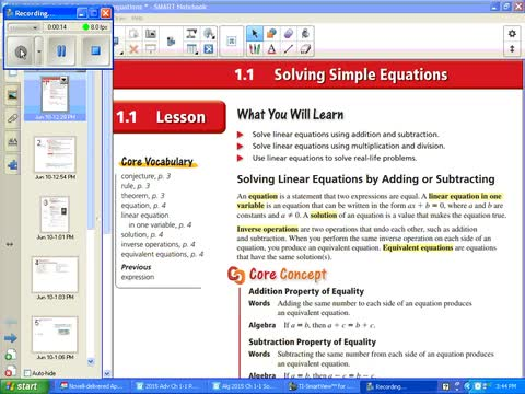 Alg I Ch 1-1 Solving Simple Equations | Whitehouse