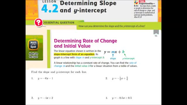 Adv Lesson 4-2 Determining slope and y intercept | Whitehouse