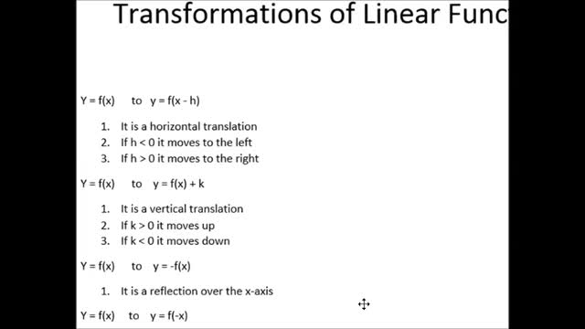 Alg I Ch 3 7 Transformations Of Linear Functions Whitehouse