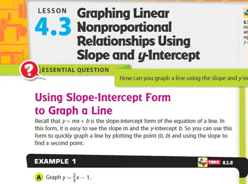 Adv Lesson 4 3 Graphing Non Proportional Linear Relationships