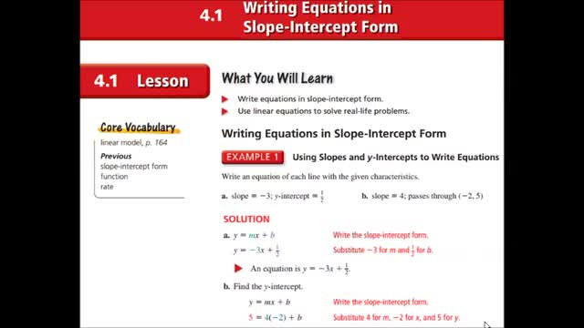 Alg I Ch 4 1 Writing In Slope Int Form Whitehouse Independent