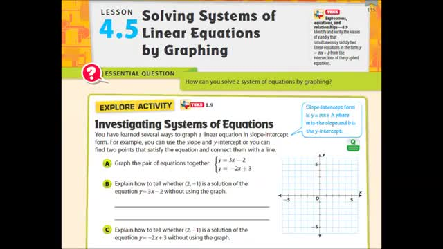 Adv Lesson 4 5 Solving Systems By Graphing Whitehouse