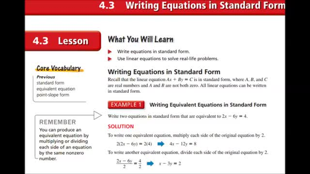 Alg Ch 4 3 Writing In Standard Form Whitehouse Independent School