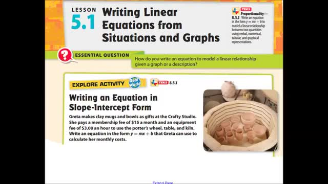 Adv lesson 5-1 Writing linear equations from situations