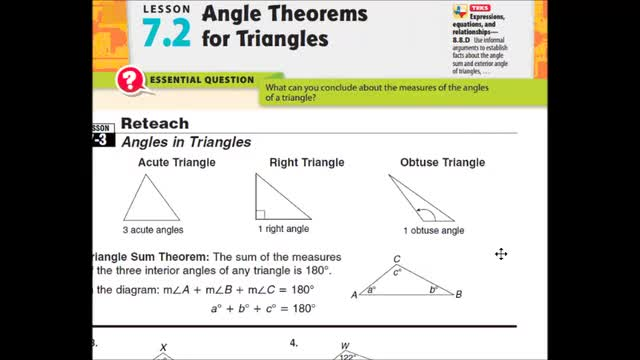 Adv Lesson 7 2 Angle Theorems For Triangles Whitehouse