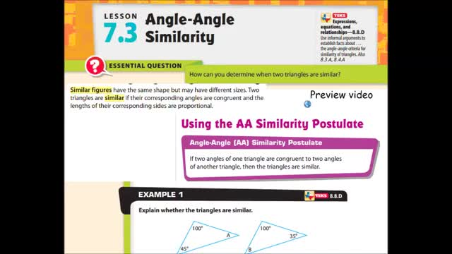 Adv Lesson 7 3 Angle Angle Similarity Whitehouse