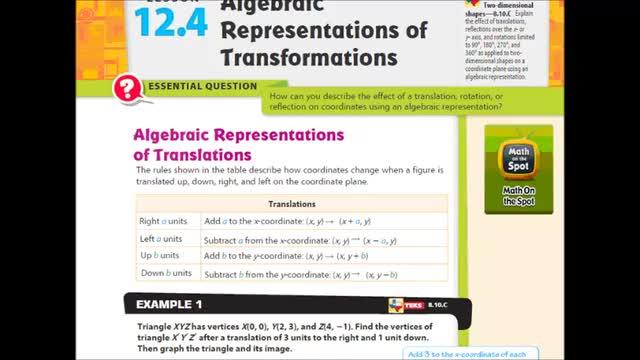 Adv Lesson 12 4 Algebraic Representations Of Transformations
