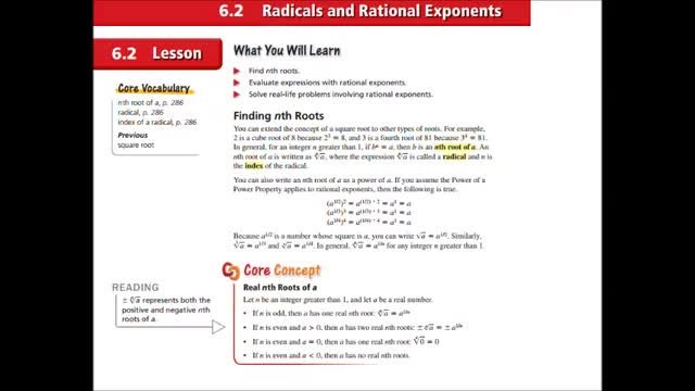 Alg Ch 6-2 Radicals and Rational Exponents | Whitehouse
