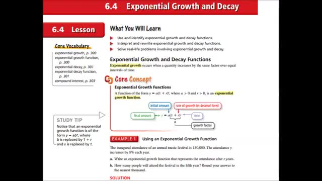 Alg Ch 6-4 Exponential growth and decay