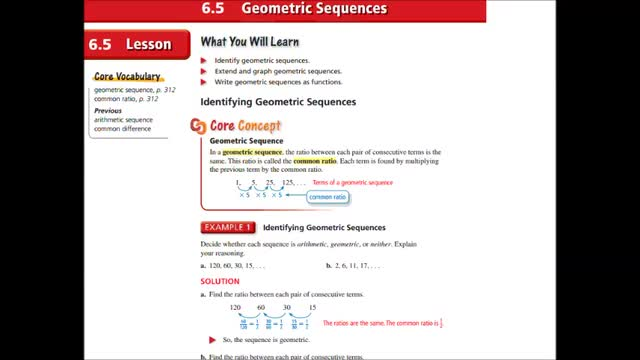 Alg Ch 6-5 Geometric Sequences