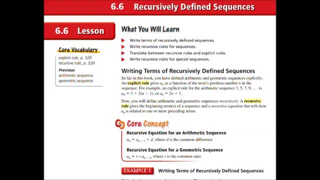 Alg Ch 6-6 Recursively Defined Sequences