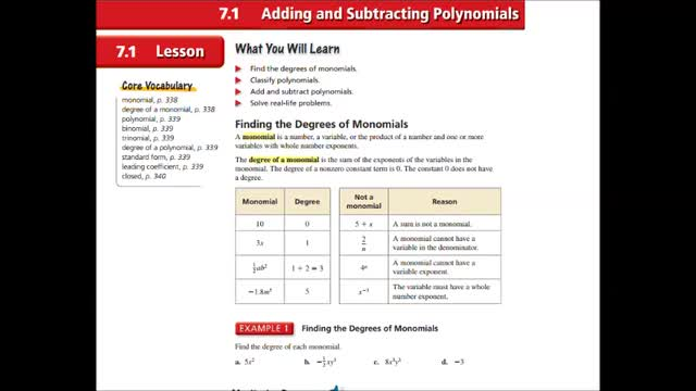 Alg Ch 7-1 Adding and subtracting polynomials