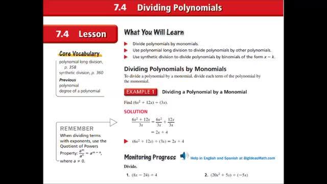 Alg Ch 7-4 Dividing polynomials