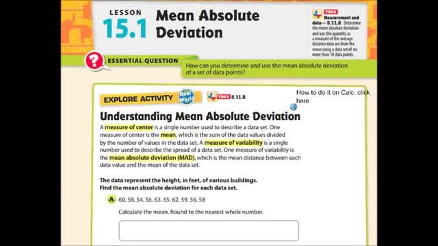 Adv Lesson 15-1 Mean Absolute Deviation