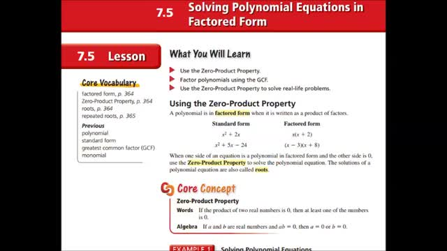 Alg Ch 7-5 Solving Polynomials Eq in factored form