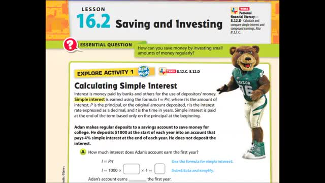 Adv Lesson 16-2 Saving and Investing