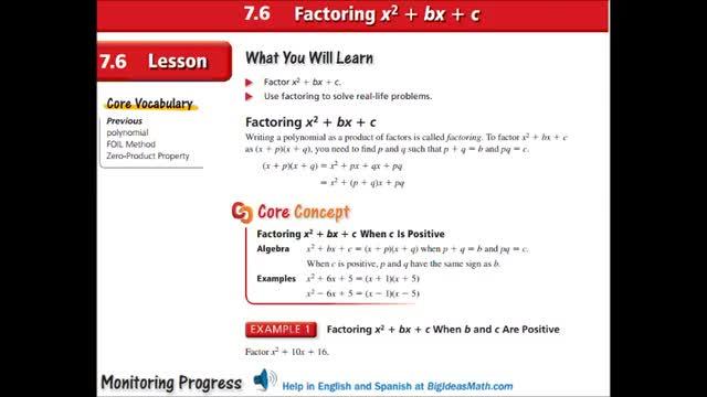 Alg Ch 7-6 Factoring x^2 + bx + c