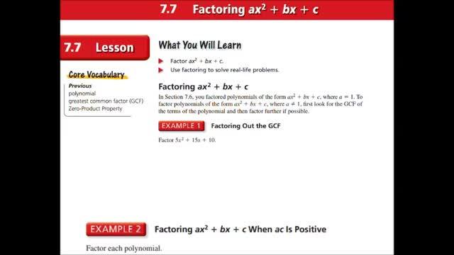 Alg Ch 7-7 Factoring ax^2 + bx + c