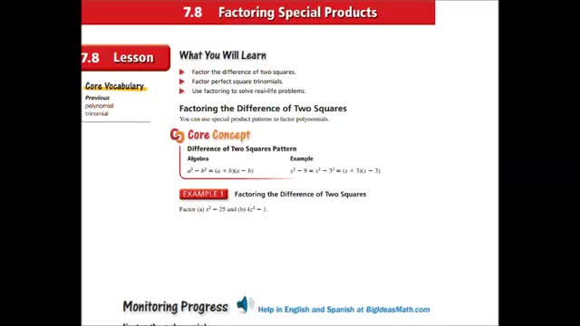 Alg Ch 7-8 Factoring special products