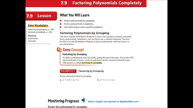 Alg Ch 7-9 Factoring polynomials completely