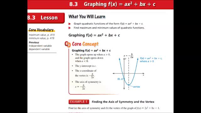 Alg Ch 8-3 Graphing f(x) = ax^2 + bx + c