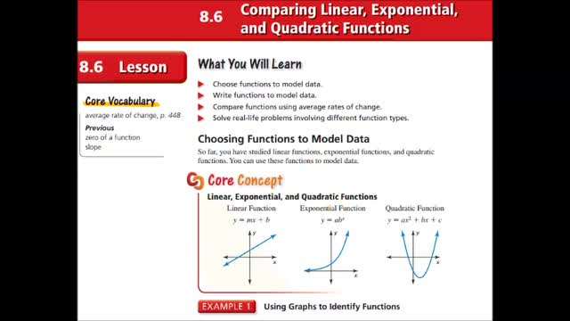 Alg Ch 8-6 Comparing linear, exponential, quadratic