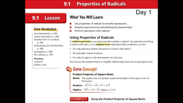 Alg Ch 9-1 Properties of radicals Day 1