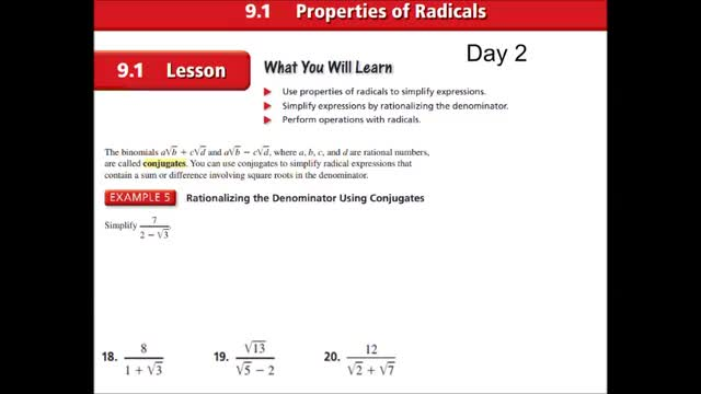 Alg Ch 9-1 Properties of radicals Day 2