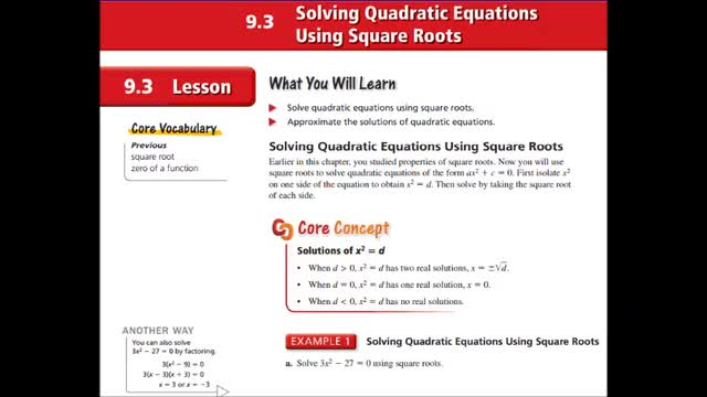 Alg Ch 9-3 Solving Quad Eq using square roots